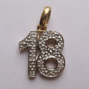 9ct Gold 0.2ct Diamond set 18th Birthday pendant 0.86g